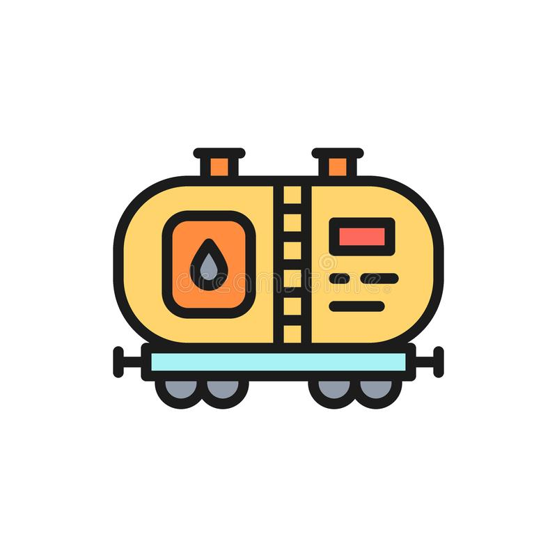 Vector oil tank, petroleum wagon with fuel, gasoline flat color line icon. royalty free illustration