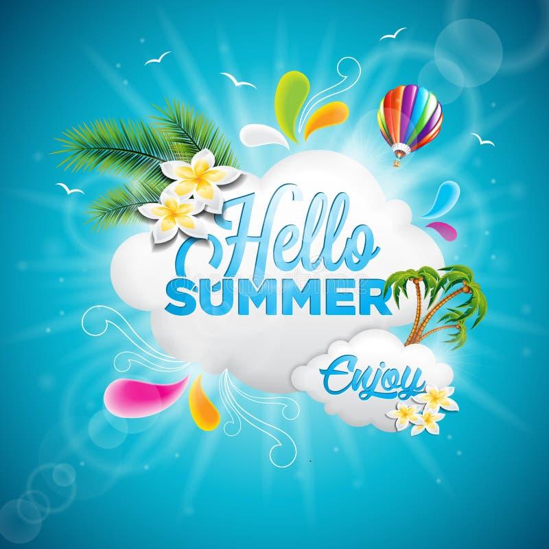 Vector olá! a ilustração tipográfica das férias de verão com o balão de plantas tropicais, de flor e de ar quente no fundo azul ilustração stock