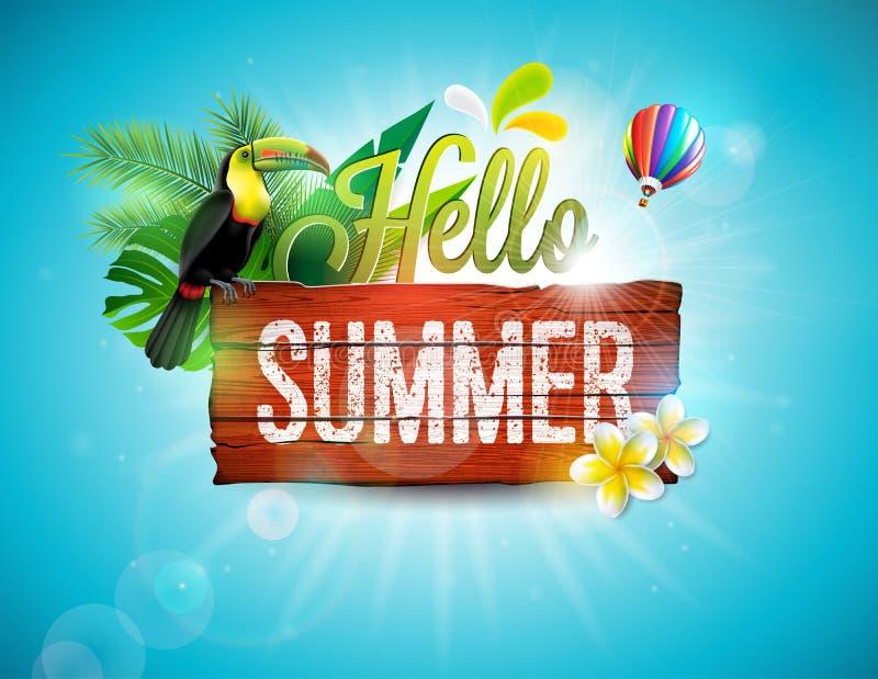 Vector olá! a ilustração tipográfica das férias de verão com o pássaro do tucano no fundo da madeira do vintage Plantas tropicais ilustração royalty free