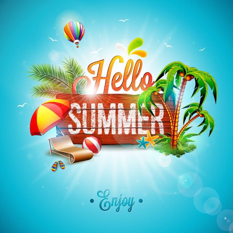 Vector olá! a ilustração tipográfica das férias de verão no fundo da madeira do vintage E ilustração royalty free