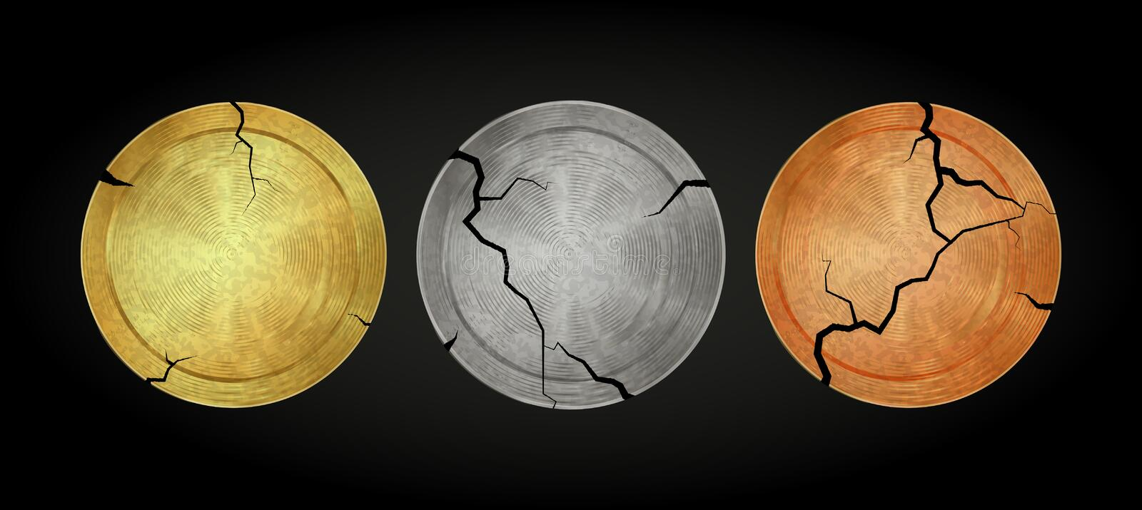 Vector old blank antique coins of gold silver bronze stock illustration