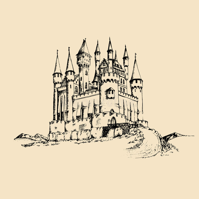 Vector old castle illustration.Gothic fortress background.Hand drawn sketch of landscape with ancient tower in mountains. Vector old castle illustration. Gothic royalty free illustration