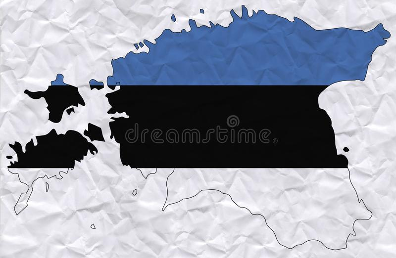 Vector old crumpled paper with watercolor painting of Estonia flag and map royalty free illustration