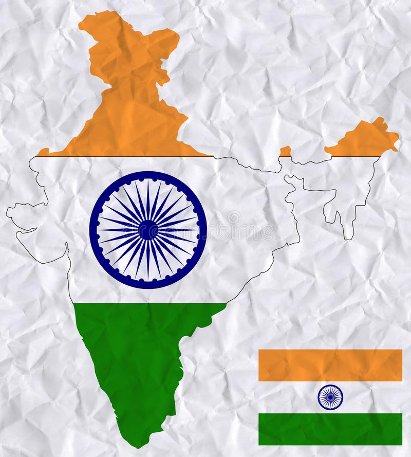Vector old crumpled paper with watercolor painting of India flag and map stock illustration