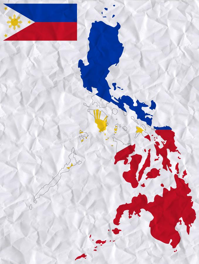Vector old crumpled paper with watercolor painting of Phillippines flag and map royalty free illustration