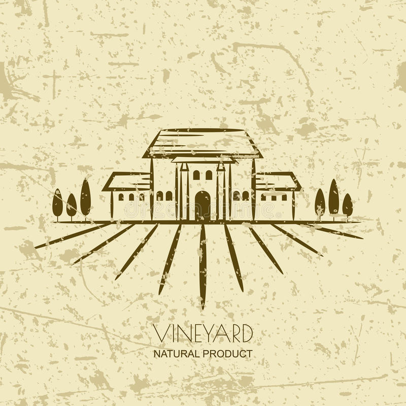 Vector old grunge background with vineyard fields and villa. Tuscany rural landscape. Trendy concept for wine list, bar or restaurant menu, labels and package stock illustration