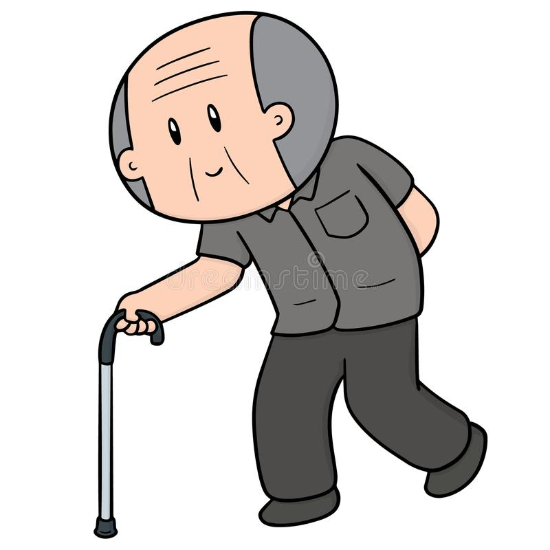 Vector of old man using cane stock illustration