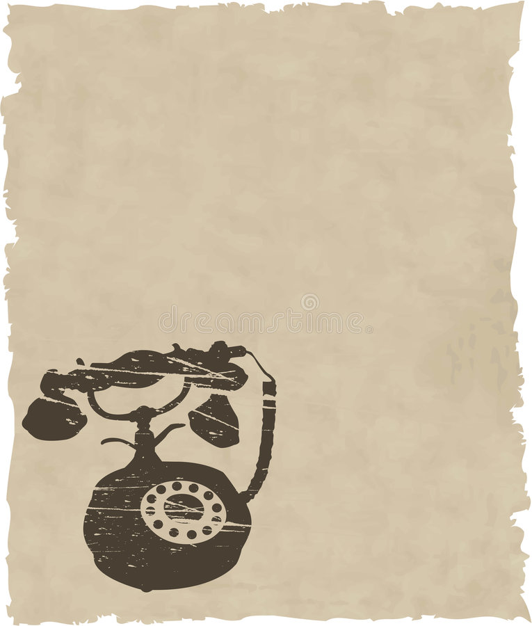 Vector old phone on brown paper royalty free illustration