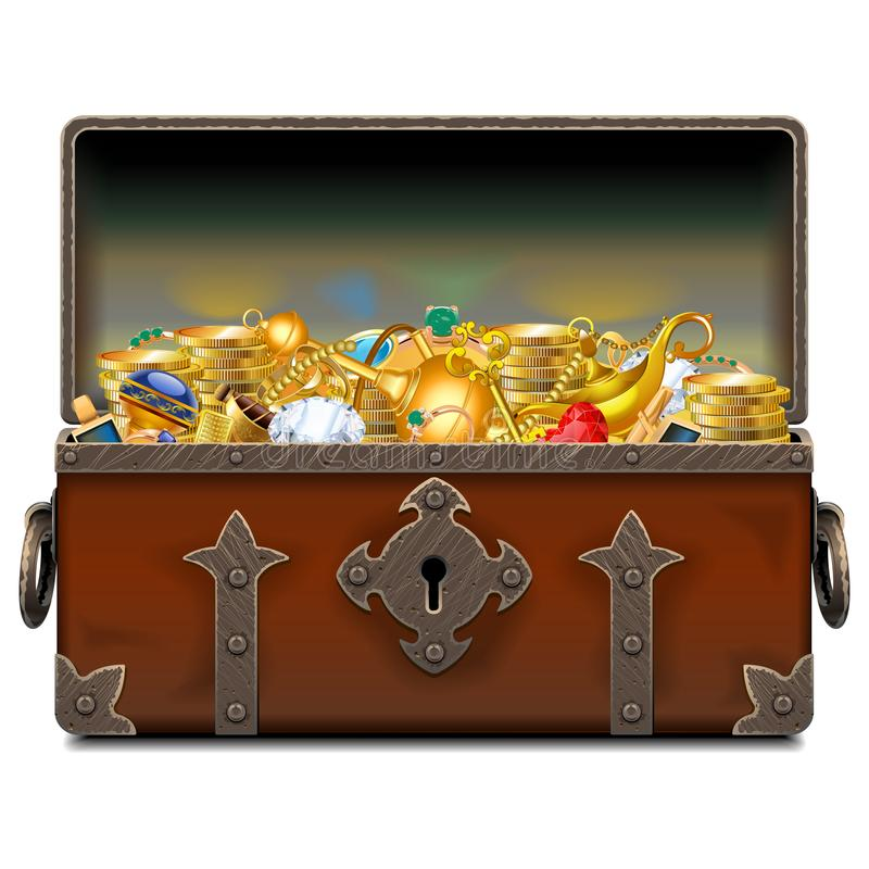 Vector Old Pirate Forged Chest with Gold stock illustration