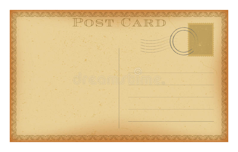 Vector old postcard with vintage frame. Grunge paper retro post card. royalty free illustration