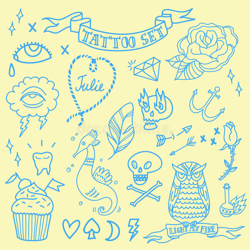 Vector Old-school Tattoo Set in Blue royalty free illustration