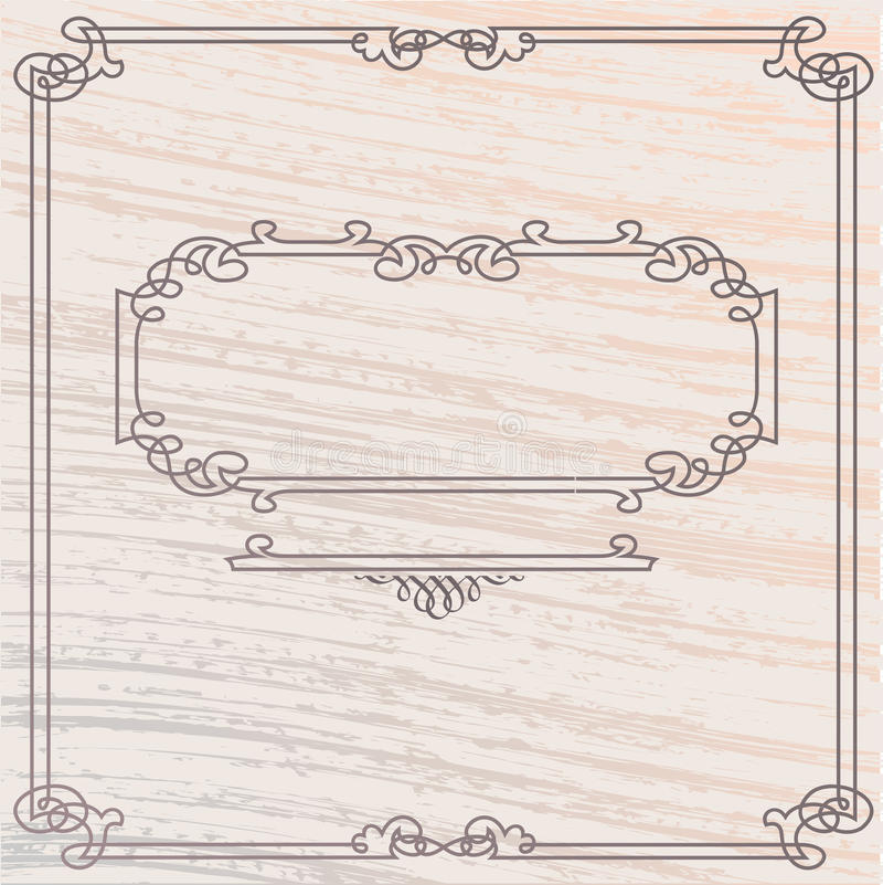 Vector Old Style Inlay Wood Frame. Vector Elegant Old Style Inlay Wood Frame royalty free illustration