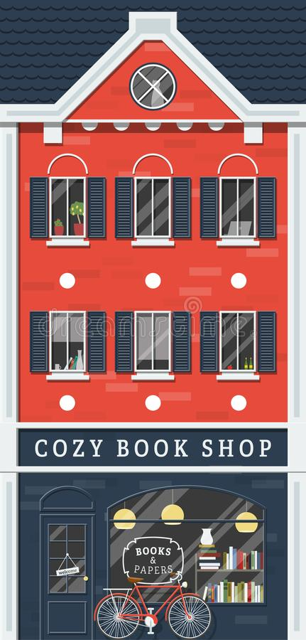 Old Book Shop. Vector old style narrow Amsterdam style Europeana house. Retro book shop on the ground floor. Red and blue colors scheme. Parked bike in front of stock illustration