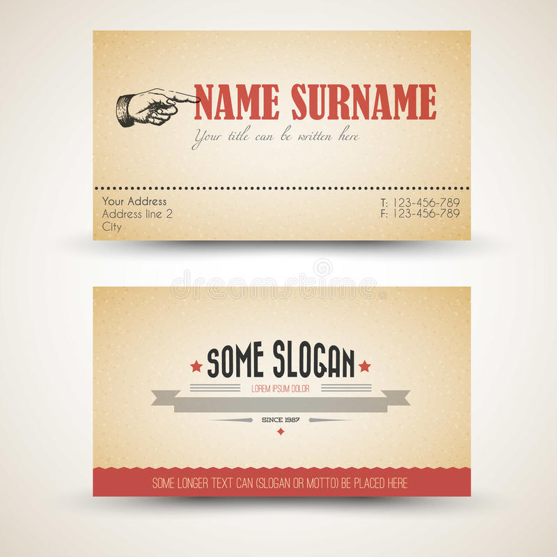 Vector Oldstyle Retro Vintage Business Card Template Stock Vector - Front and back business card template