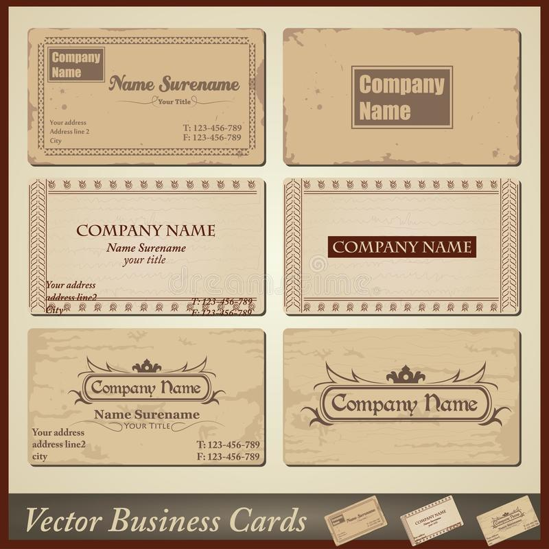 Vector Old-style Retro Vintage Business Cards Stock Vector ...