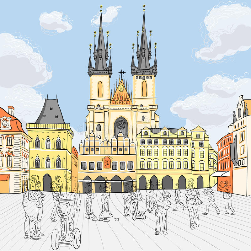 Vector Old Town square in Prague, Czech Republic royalty free stock photo