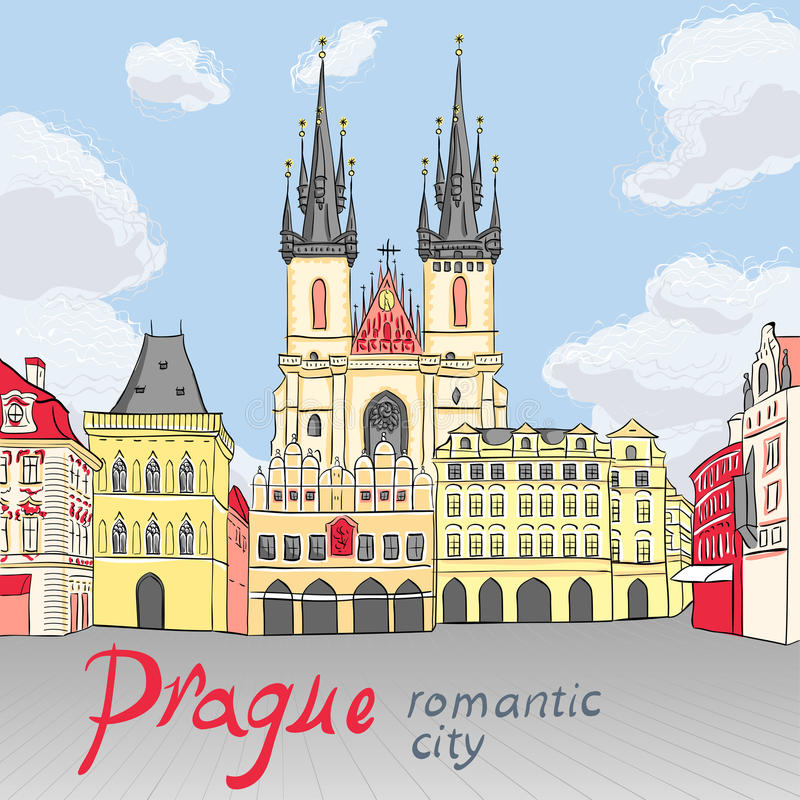Vector Old Town square in Prague, Czech Republic. Picturesque view over Old Town square in Prague, Czech Republic royalty free illustration