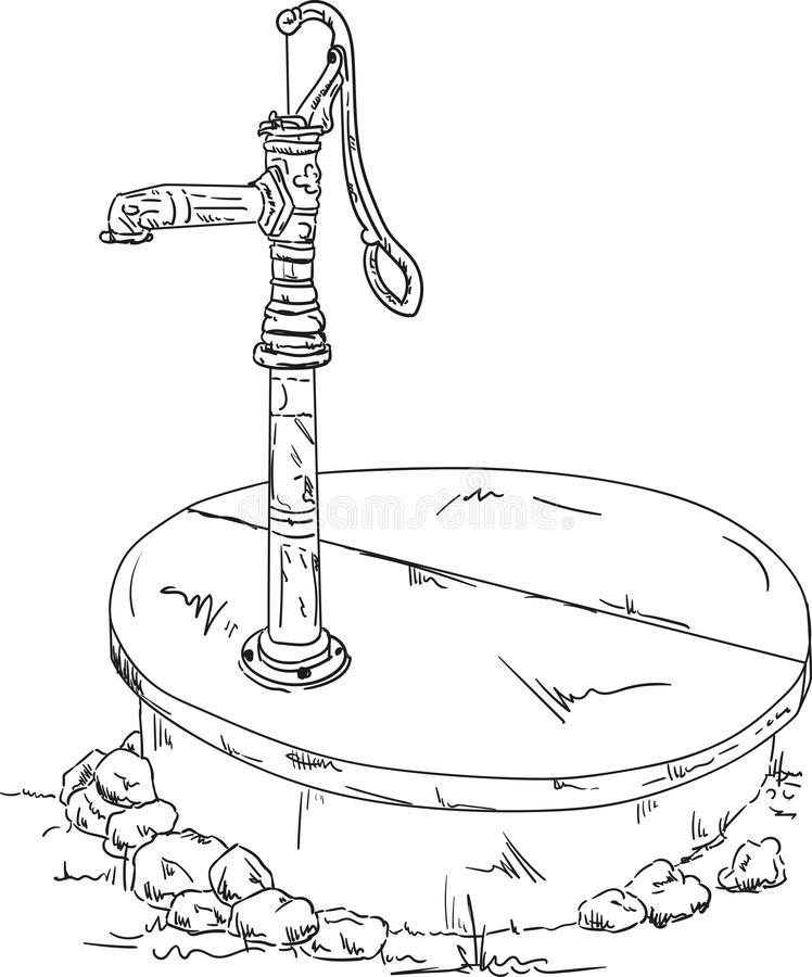 Vector - old water pump stock images