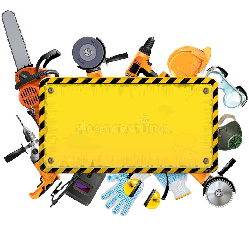 Vector Old Yellow Frame with Tools royalty free illustration