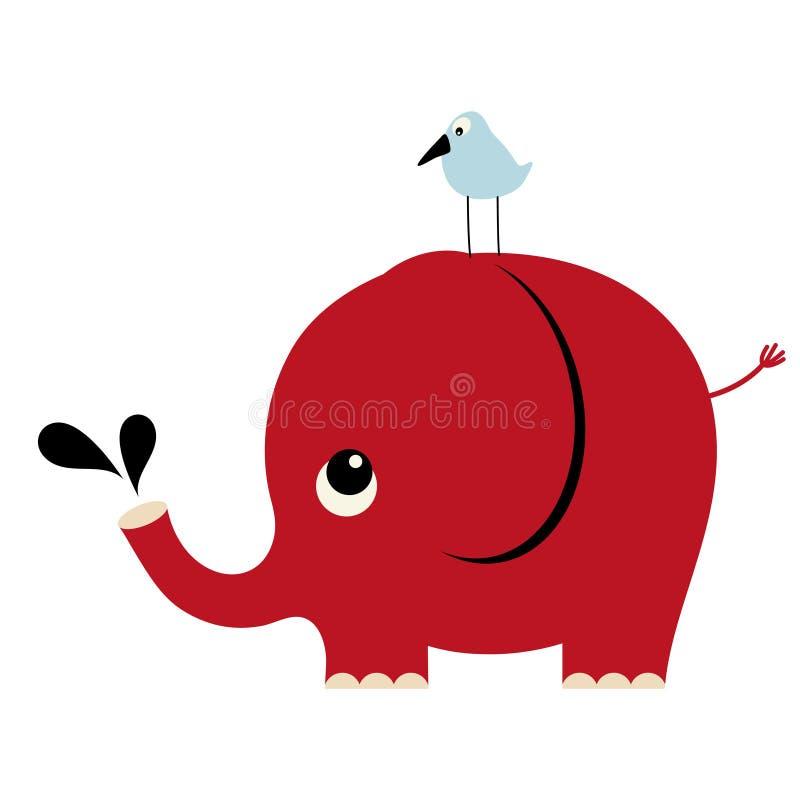 Vector olifant en vogel royalty-vrije illustratie