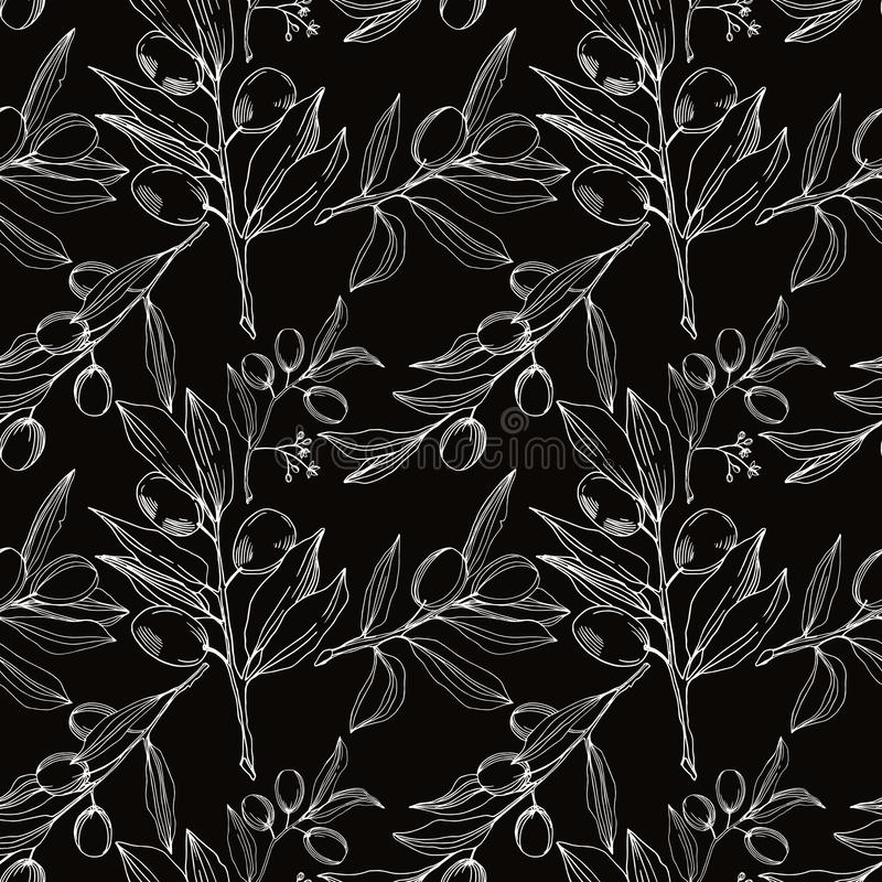 Vector Olive branch with fruit. Black and white engraved ink art. Seamless background pattern. stock illustration