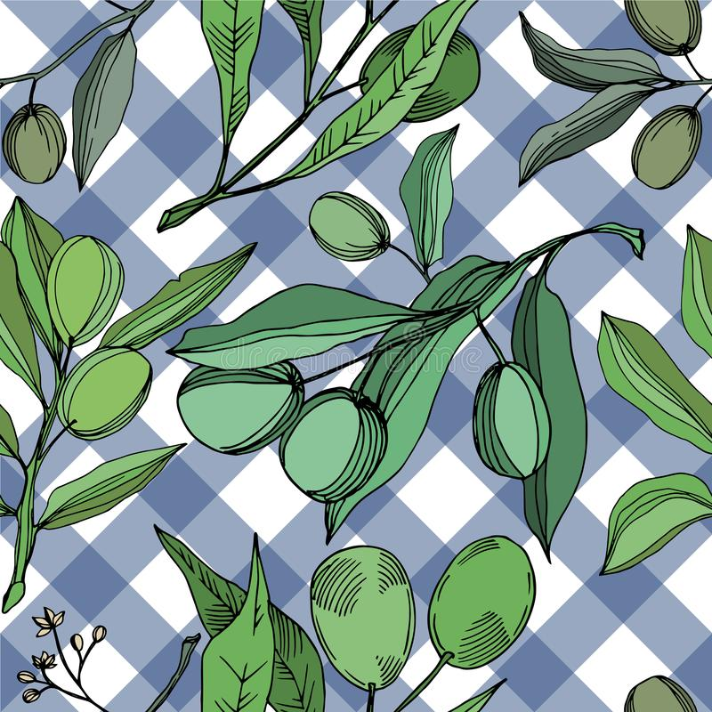 Vector Olive branch with fruit. Black and white engraved ink art. Seamless background pattern. vector illustration
