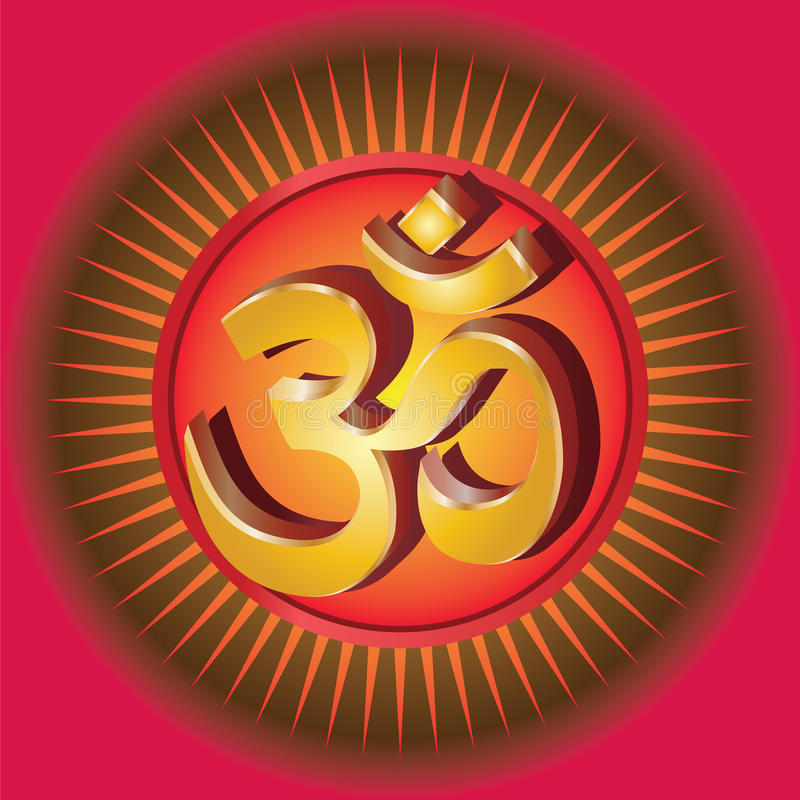 Vector Om symbol. Om or Aum religious symbol illustration on red background stock illustration