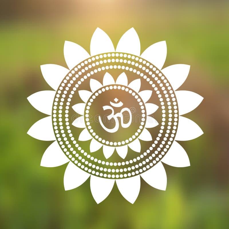 Vector Om Symbol Hindu in Lotus Flower Mandala Illustration royalty free illustration