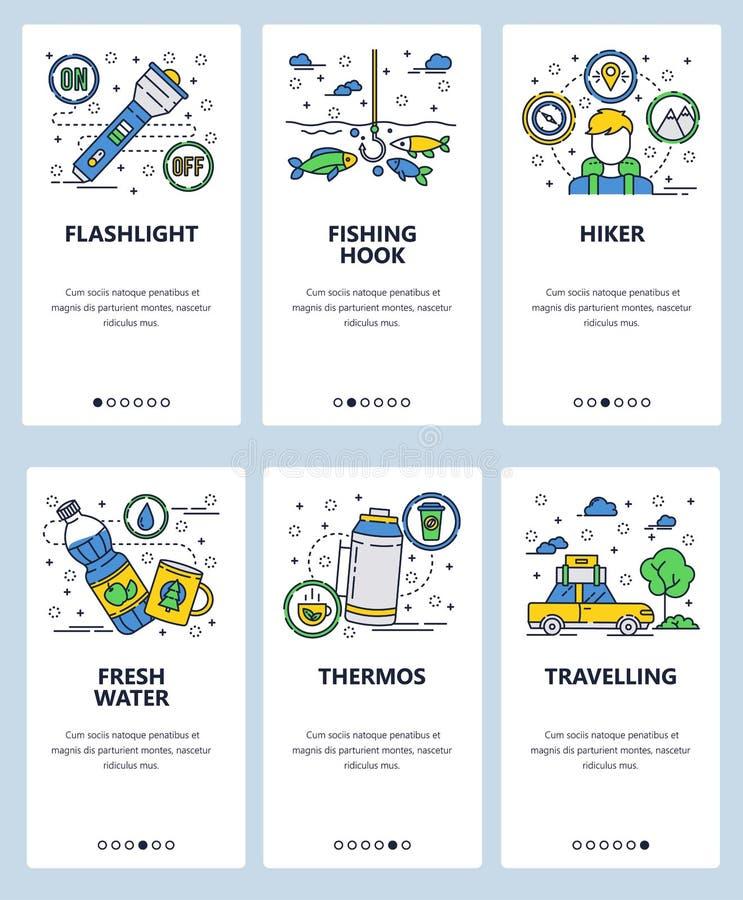 Vector onboarding de schermenmalplaatje van de website lineair kunst Openlucht het kamperen, wandelings en visserij pictogrammen  vector illustratie
