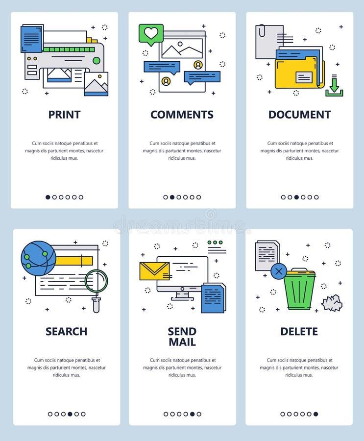 Vector onboarding de schermenmalplaatje van de website lineair kunst Printer, computer en Internet-pictogrammen Menubanners voor  royalty-vrije illustratie