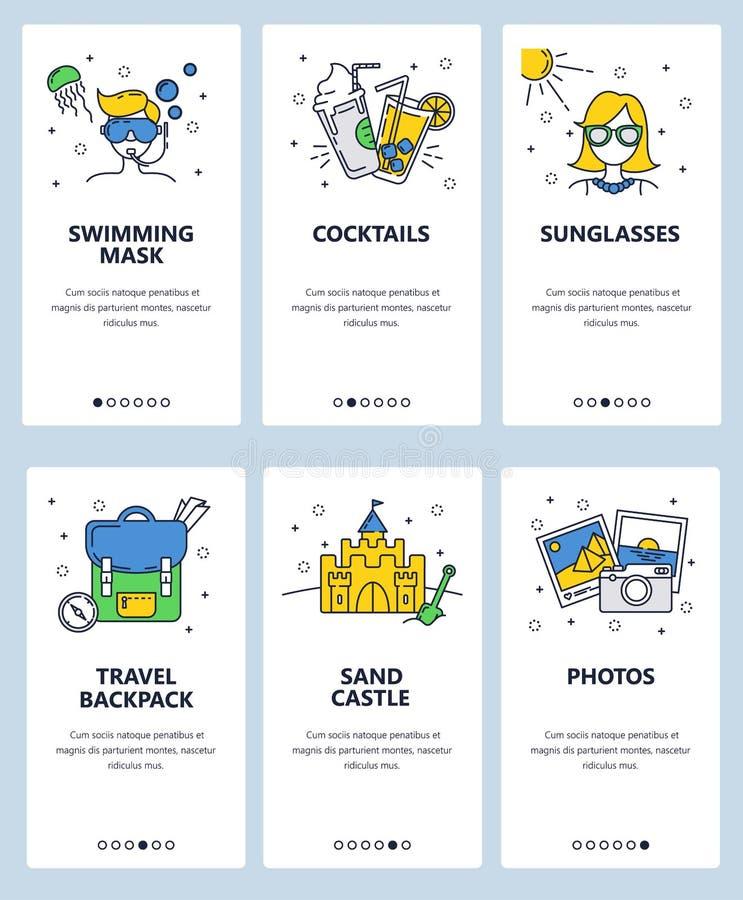 Vector onboarding de schermenmalplaatje van de website lineair kunst Reis en de zomervakantiepictogrammen Menubanners voor websit stock illustratie