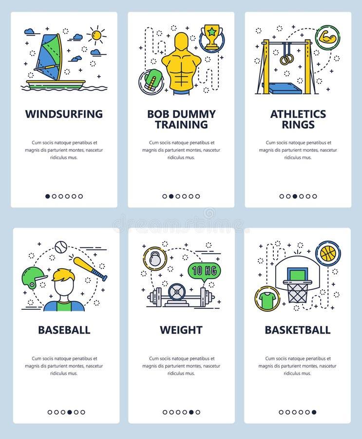 Vector onboarding de schermenmalplaatje van de website lineair kunst Sportpictogrammen, basketbal, honkbal, het windsurfing, fitn royalty-vrije illustratie
