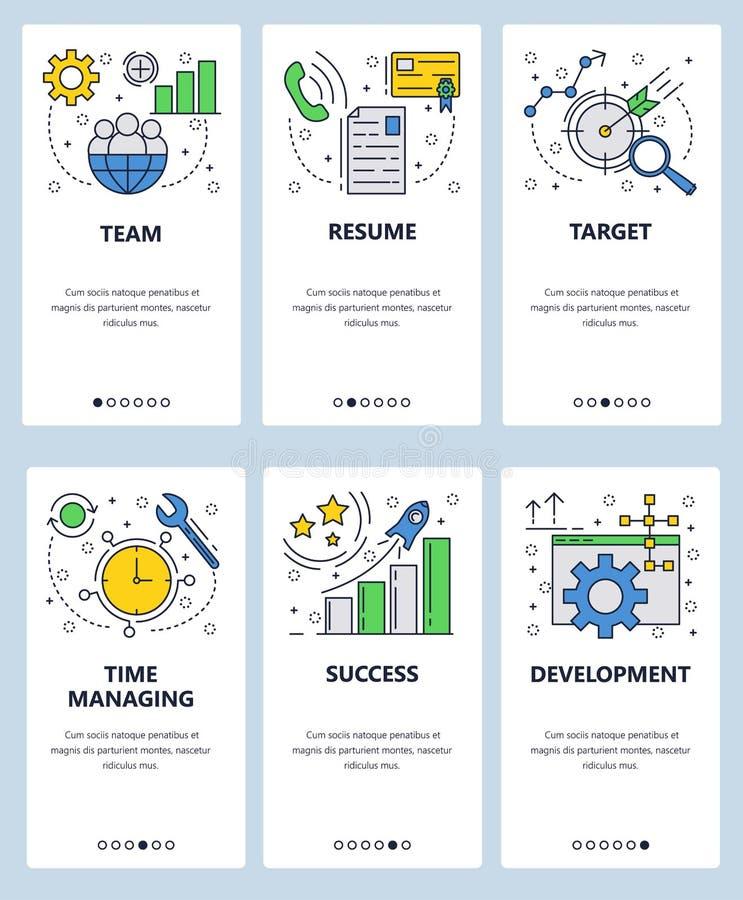 Vector onboarding de schermenmalplaatje van de website lineair kunst Tijdbeheer, cv-brief, bedrijfsdoel en succes menu royalty-vrije illustratie
