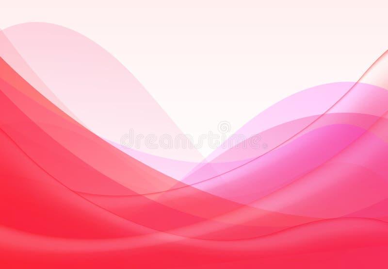 Vector ondas onduladas vermelhas cor-de-rosa abstratas fundo, papel de parede Folheto, projeto No fundo branco ilustração do vetor