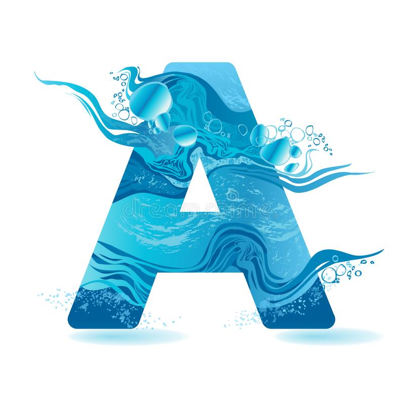 Vector One letter of water. Alphabet texture splash in blue color isolated on white. Bubbles abstract hand-drawn text vector illustration