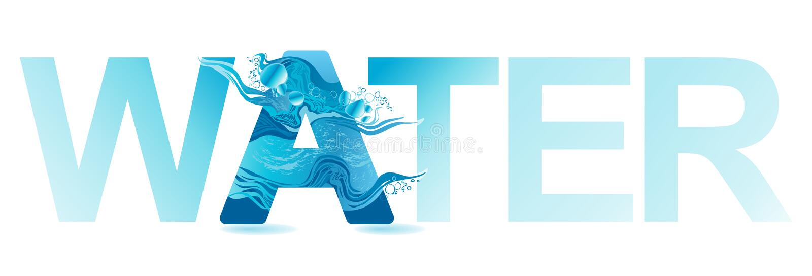 Vector One letter of water royalty free illustration