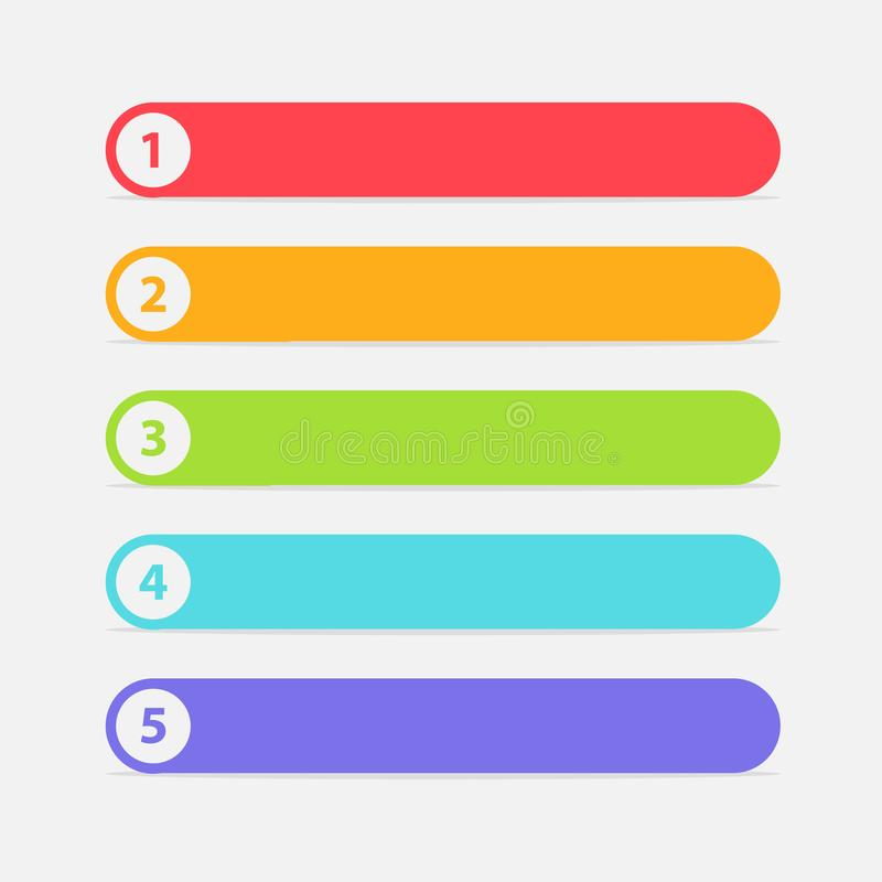 Vector One Two Three Four Five steps, progress or ranking banners with colorful tags. stock illustration