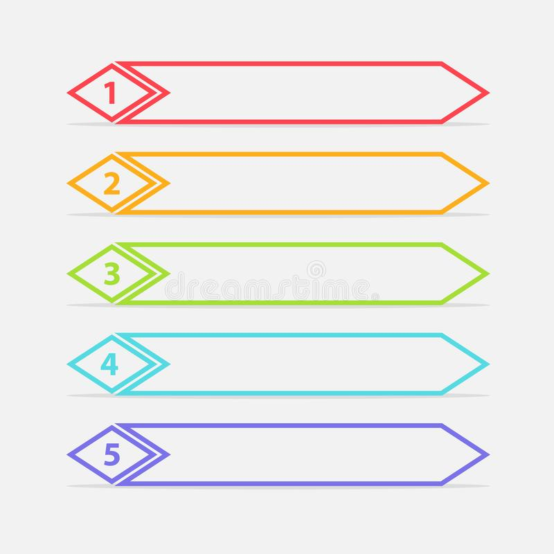 Vector One Two Three Four Five steps, progress or ranking banners with colorful tags. Infographic royalty free illustration