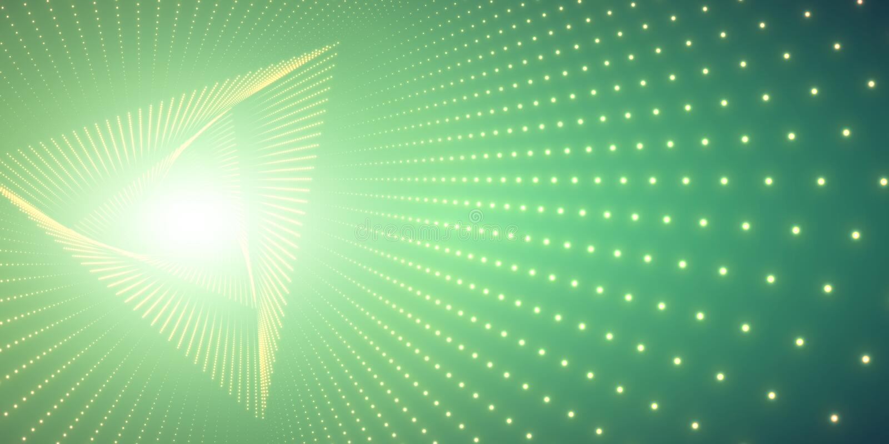 Vector oneindige driehoek verdraaide tunnel van glanzende gloed op groene achtergrond De gloeiende tunnel van de puntenvorm vector illustratie