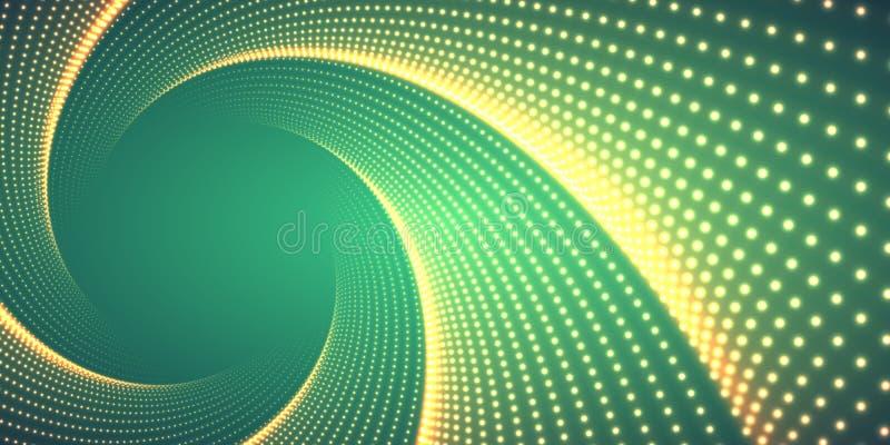 Vector oneindige rond verdraaide tunnel van glanzende gloed op groene achtergrond De gloeiende tunnel van de puntenvorm vector illustratie