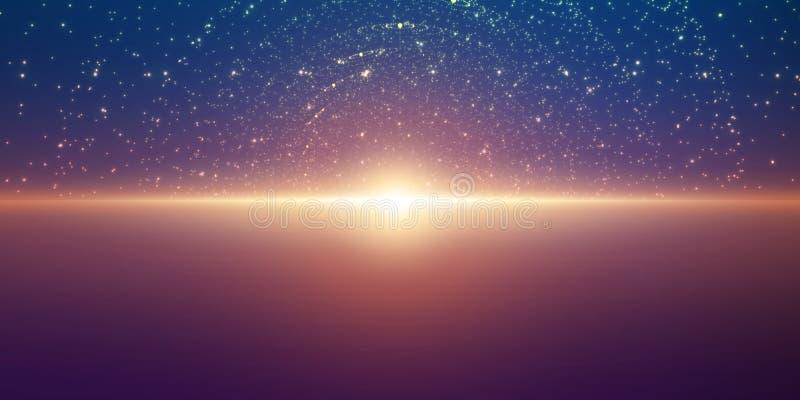 Vector oneindige ruimteachtergrond Matrijs van gloeiende sterren met illusie van diepte en perspectief royalty-vrije illustratie