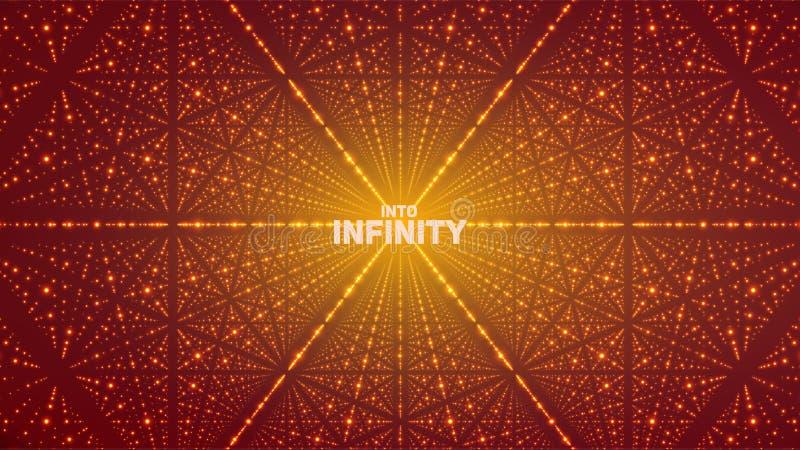 Vector oneindige ruimteachtergrond Matrijs van gloeiende sterren met illusie van diepte, perspectief stock illustratie