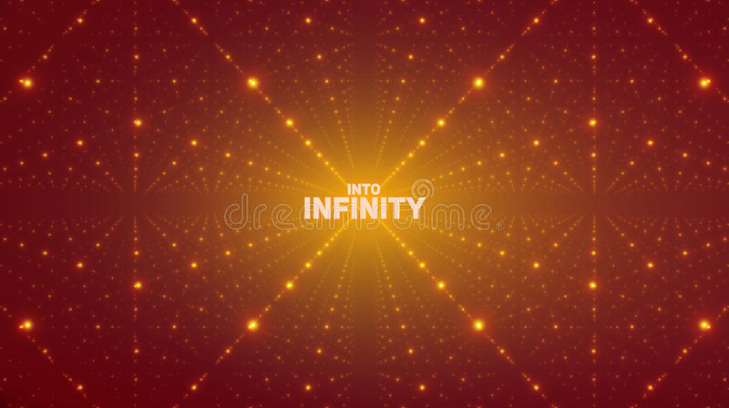 Vector oneindige ruimteachtergrond Matrijs van gloeiende sterren met illusie van diepte, perspectief royalty-vrije illustratie