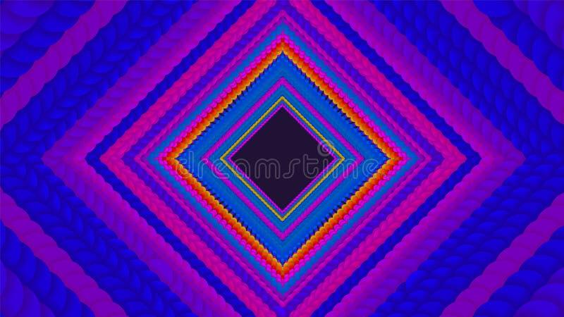 Vector oneindige ruitvormige of vierkante kleurrijke tunnel van cirkels met zachte schaduw De tunnelsectoren van de cirkelsvorm S stock illustratie