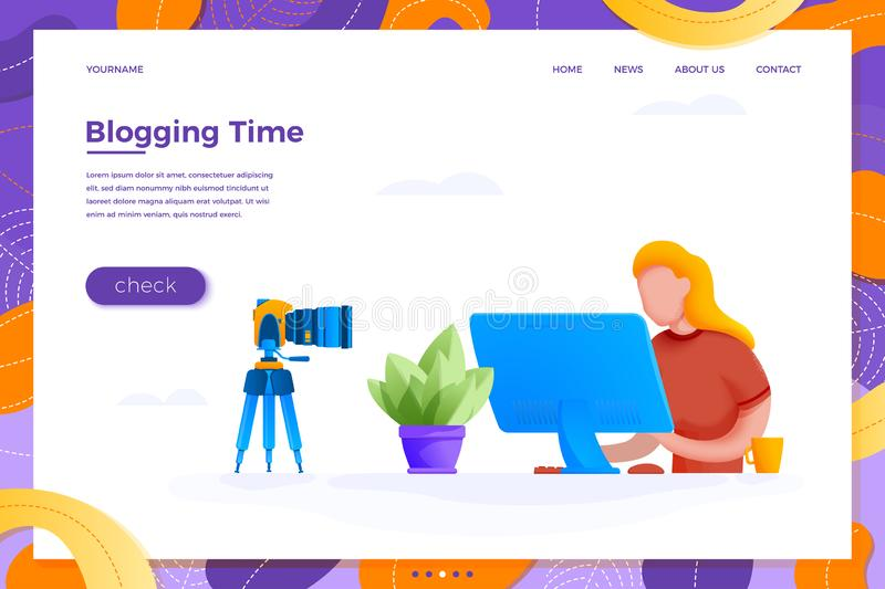Vector online blogging concept girl with camera royalty free illustration