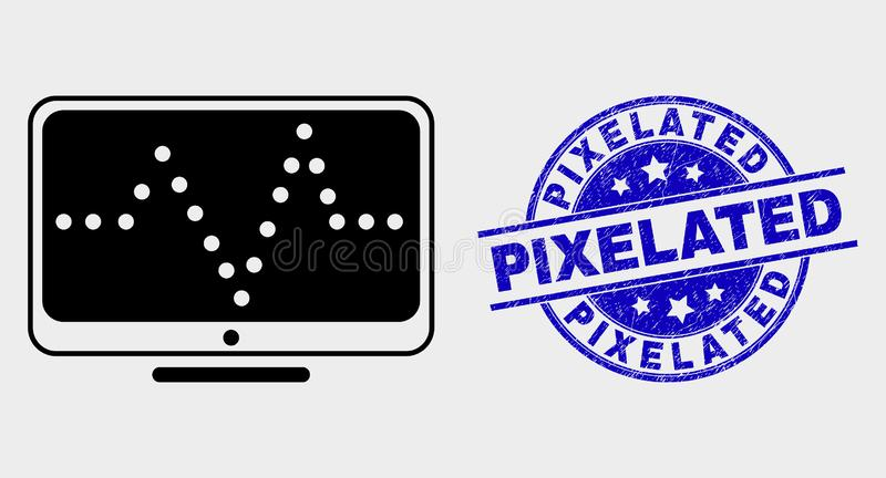 Vector Online Dotted Chart Icon and Grunge Pixelated Seal vector illustration