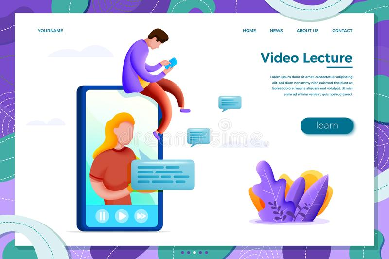 Vector online learning concept with cartoon girl vector illustration