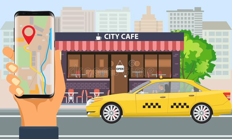 Vector Online Taxi service concept. Yellow taxi cab and hand holding smartphone with taxi application and city landscape. Online Taxi service. Yellow taxi cab royalty free illustration