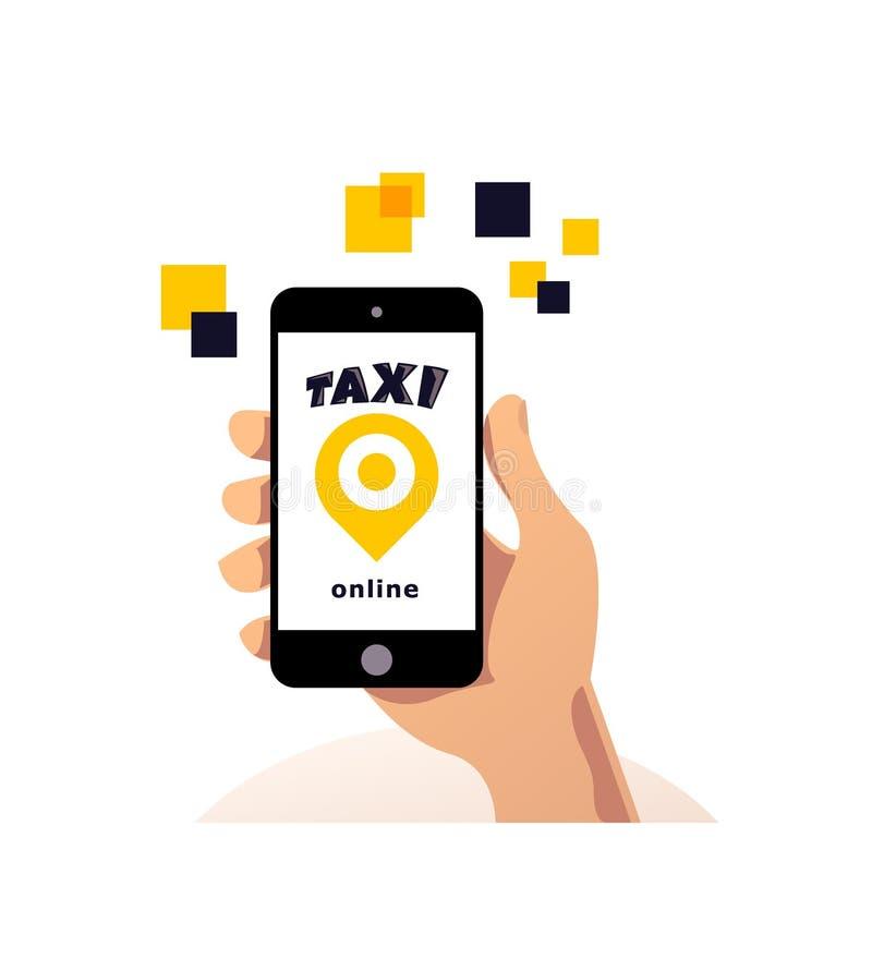 Vector online taxi service logo design royalty free illustration