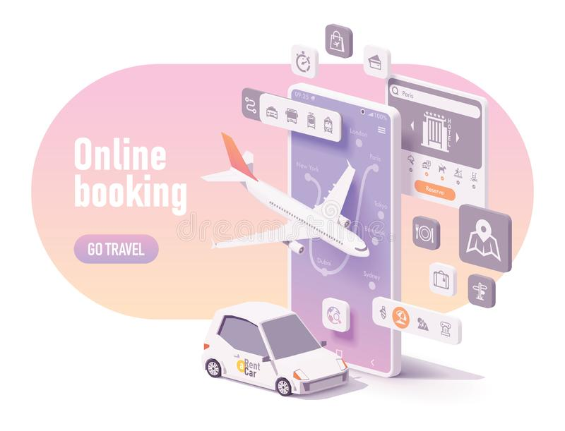 Vector online travel planning and booking concept. Vector online travel planning illustration, hotel booking or buying airline tickets, rental car reservation vector illustration